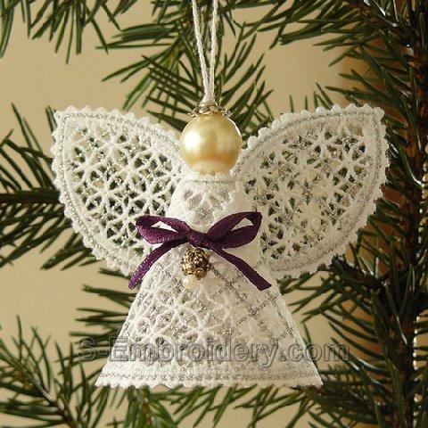 Christmas angel battenberg lace ornament - silver