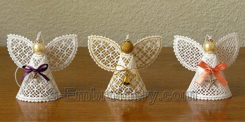 Battenberg lace Christmas angel ornaments