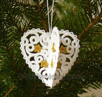 3D freestanding lace heart Christmas ornament