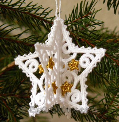 3D Christmas star freestanding lace ornament