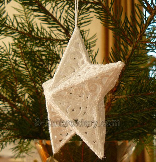 3D freestanding lace Christmas star ornament -side view