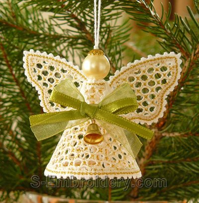 Battenberg lace Christmas angel ornament - gold