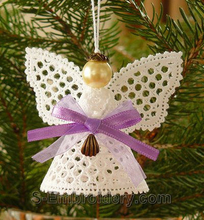 Battenberg lace Christmas angel ornament - monocolor