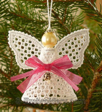 Battenberg lace Christmas angel ornament - silver
