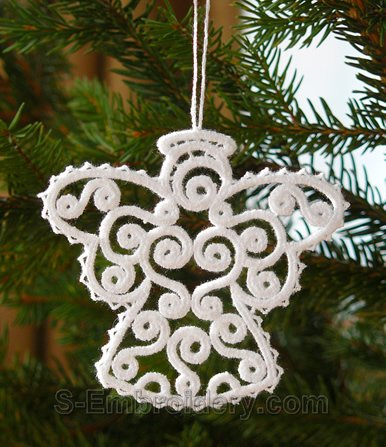 Freestanding lace Christmas angel ornament