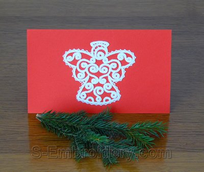 Christmas greeting card with freestanding lace angel