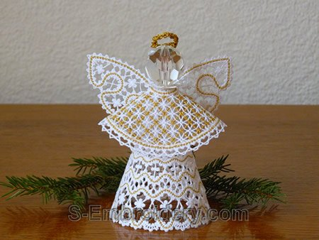 3D freestanding lace Christmas angel machine embroidery