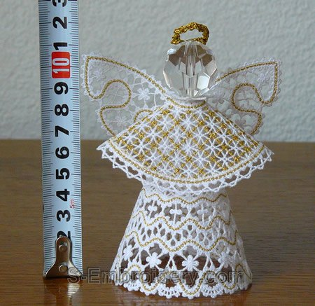 3D freestanding lace Christmas angel machine embroidery size