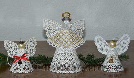 3D freestanding lace Christmas angel - compared to other embroidery designs