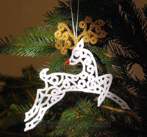 Freestanding lace reindeer Christmas machine embroidery