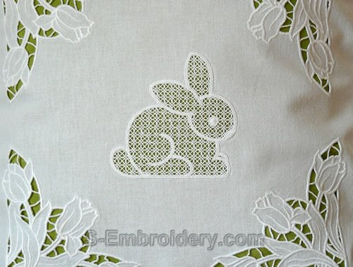 Easter bunny cutwork lace machine embroidery