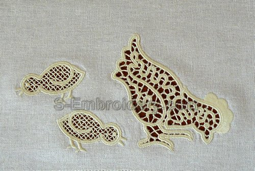 Hen and chicks cutwork lace embroidery