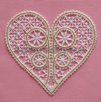 Battenberg lace heart machine embroidery design