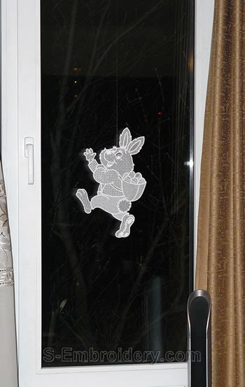 Freestanding lace Bunny Easter window decoration