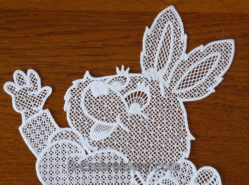 Easter bunny freestanding lace window decoration