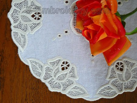 Rose freestanding lace and cutwork embroidery doily