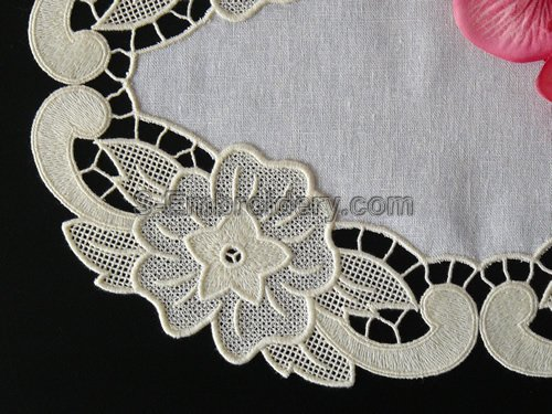 tanding lace floral doily - close-up image