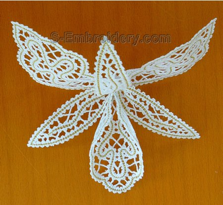 3D freestanding lace orchid machine embroidery design