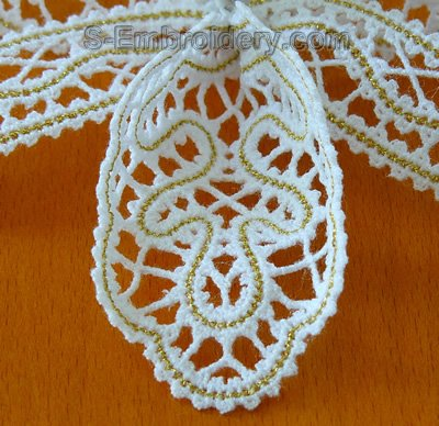 3D freestanding lace orchid machine embroidery design - detailed image