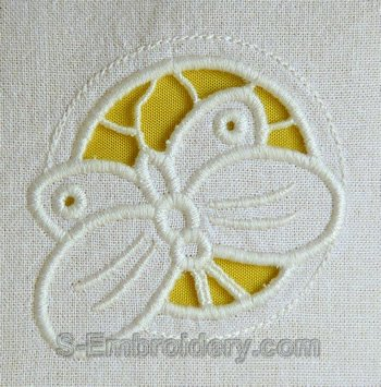 Butterfly cutwork lace machine embroidery design