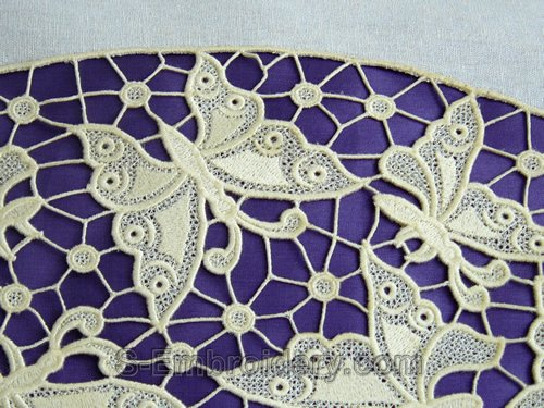 Free standing lace butterfly embroidery - detail