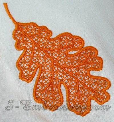 Autumn leaf cutwork lace machine embroidery design