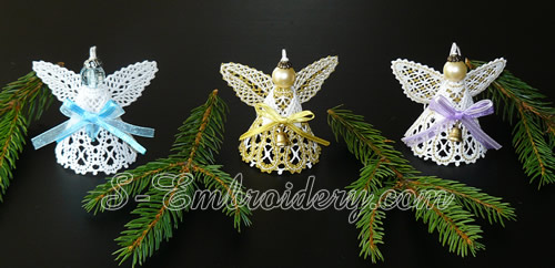 3D Angel Battenberg lace Christmas ornament machine embroidery set