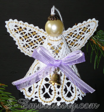 3D Angel Battenberg lace Christmas ornament  - 2-color version
