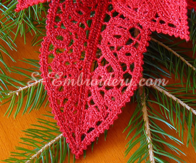 Poinsettia Christmas free standing lace machine embroidery design - leaf detail
