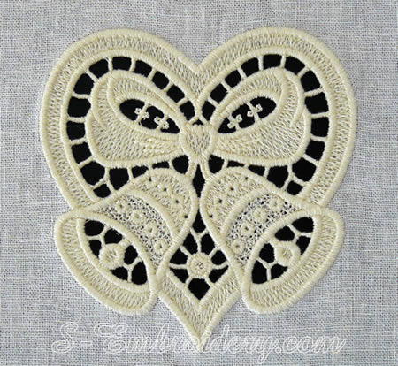 Christmas bells and heart cutwork lace machine embroidery