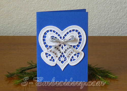 Christmas card with free standing lace heart and bells ornament