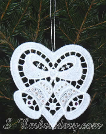 Christmas ornament - free standing lace heart and Christmas bells embroidery
