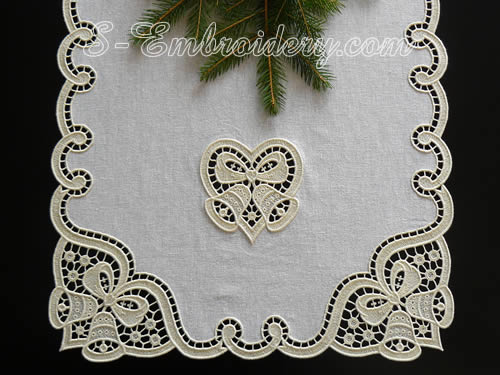 Christmas table runner with Christmas bells and heart cutwork lace embroidery