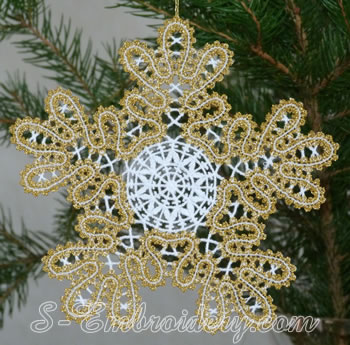 Snowflake Battenberg lace embroidery ornament No4