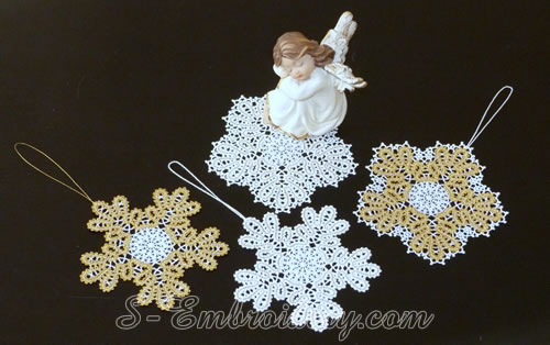Snowflake Battenburg lace embroidery ornaments