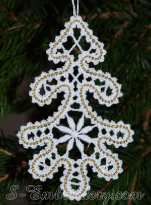 Christmas tree Battenburg lace ornament embroidery design w. loop