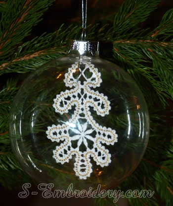 Christmas tree Battenburg lace ornament embroidery design