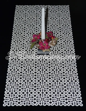 Battenburg free standing lace table runner