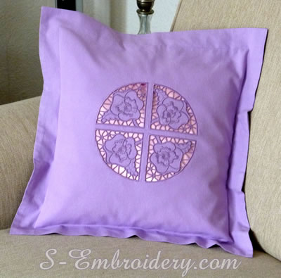 Pillow case with Pansy cutwork lace machine embroidery design #2