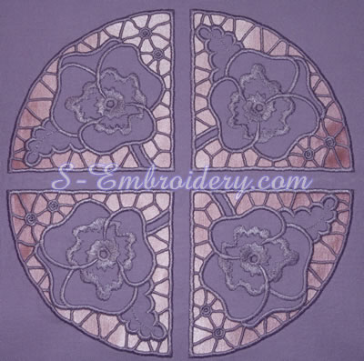 Pansy cutwork lace machine embroidery design - circle