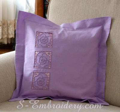 Pillow case with Pansy cutwork lace machine embroidery design - square