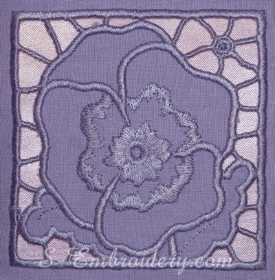 Pansy cutwork lace machine embroidery design - square