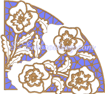 Pansy cutwork lace embroidery design - exploded view