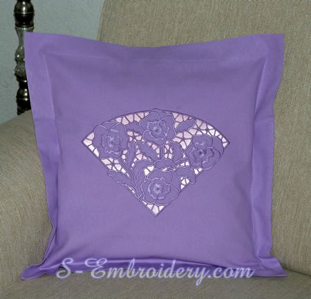 Pansy cutwork lace embroidery design on a pillow case