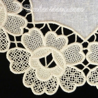 Free standing lace doily floral machine embroidery design - detail