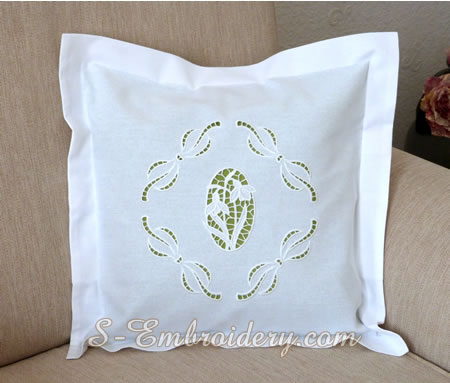 Pillow case with Snowdrops cutwork lace machine embroidery design