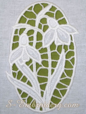 Snowdrops cutwork lace machine embroidery design