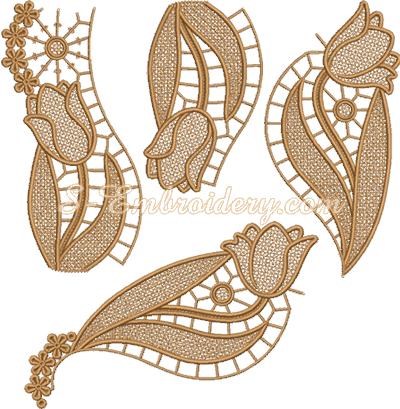 Tulips free standing lace doily machine embroidery designs set