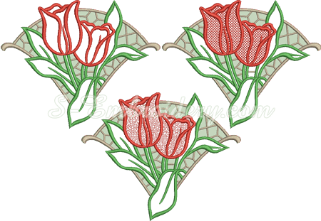 Cutwork lace tulips machine embroidery design in 3 versions