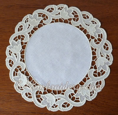 Floral free standing lace doily - no decoration
